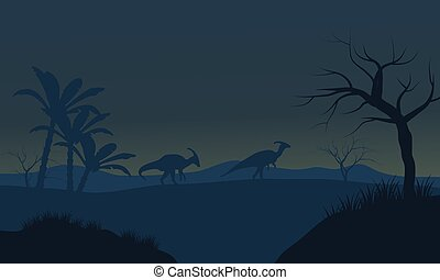 Parasaurolophus in fields scnery silhouette