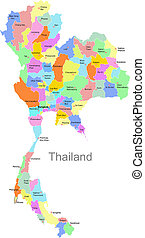 Thailand map - Color Thailand map with regions over white