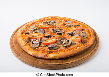 Whole pizza on white background - Freshly baked whole pizza...