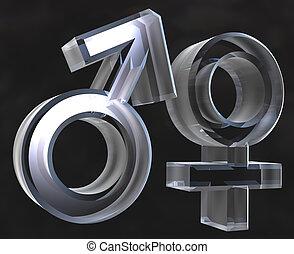 Male and female sex symbols Male and female sex symbols (3D)...