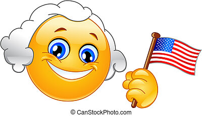 George Washington emoticon holding a flag of USA