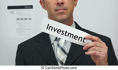 Businessman Cuts Investment Concept - Male office worker or...
