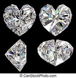 Diamond heart isolated different view