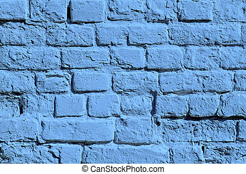 the blue painted brick wall - the painted blue old brick...