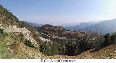 Himalayan Foothills in Coming Spring - The foothills of the...