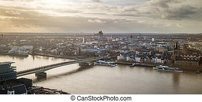 View of Cologne, Germany across Rhine with Great St. Martin church