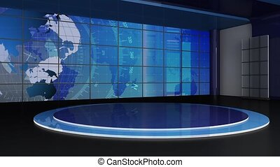 News TV Studio Set -155 - News TV Studio Set 155-Virtual...