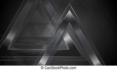 Black abstract tech triangles video animation - Black...