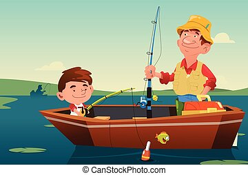 Father Son Fishing - A vector illustration of father fishing...