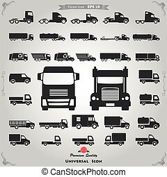 Truck icons set - Various truck silhouettes. Commercial van...