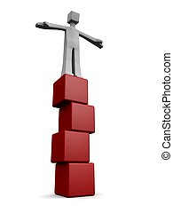 Balance and stable growing succes concept - Man standing and...