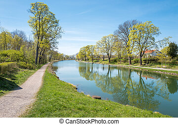 Spring in Sweden - Historic Gota Canal at Berg outside...