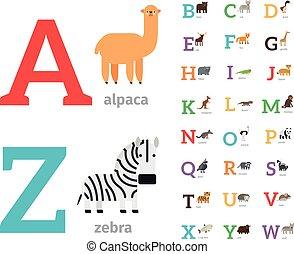 alfabet, Wektor, Zwierzęta, ikony