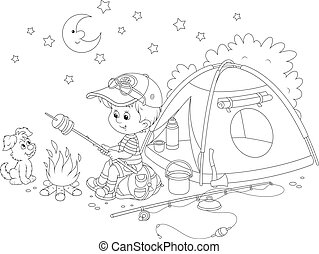 Boy scout roasting bread on campfir - Black and white vector...