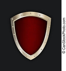 Red riveted shield on black background.