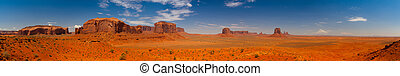 Iconic peaks of rock formations in the Navajo Park of Monument Valley - Panorama