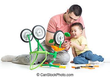 Menino, seu, afixando, bicicleta, papai, crianças, criança