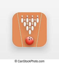 Square icon of bowling alley sport. Sporting field and ball....