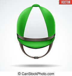 Classic Jockey helmet - Classic Green and White Jockey...