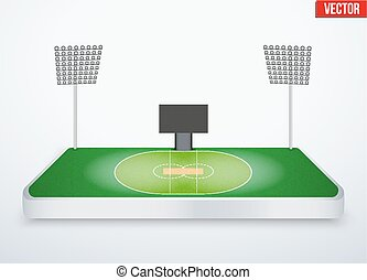 Concept of miniature tabletop cricket stadium In...