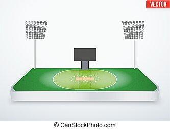Concept of miniature tabletop cricket stadium. In...