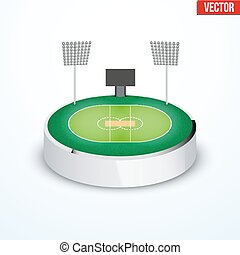 Concept of miniature round tabletop cricket stadium. In...
