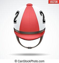 Classic Jockey helmet - Classic Red Jockey helmet with...
