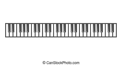 Vector black piano key icon on grey background.