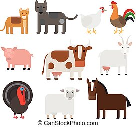 Domestic animal flat vector icons - Domestic animal flat...