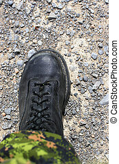 "Boot on the ground - Soldiers boot on the earth ""Nothing..."