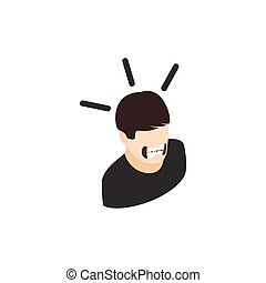 Man with tape on mouth icon, isometric 3d style - Stressed...