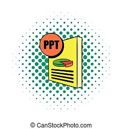 PPT file icon in comics style on a white background