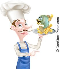 Fish and Chips Chef Pointing - A cartoon seafood chef...