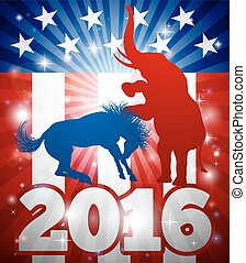 Republicans Winning Election 2016 Concept - Mascot animals...