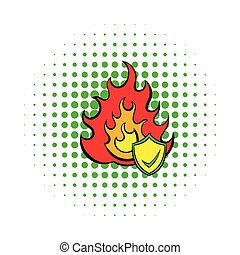 Fire and shield with tick icon, comics style - Fire and...