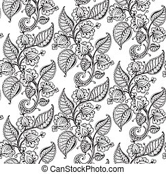 Vector seamless pattern with hand drawn fancy flower branch