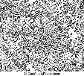 Vector seamless floral pattern with fancy flowers in doodle...
