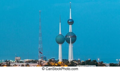 The Kuwait Towers day to night timelapse - the best known...