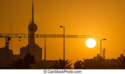 Sunrise with Kuwait Towers timelapse - the best known...