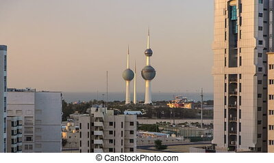 The Kuwait Towers timelapse - the best known landmark of...