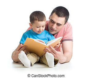 Dad and son reading together - Dad and child son reading...