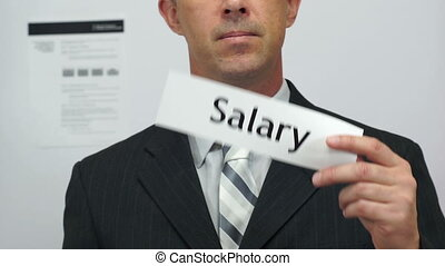 Businessman Cuts Salary Concept - Male office worker or...