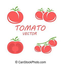 Vector flat tomato icons set on white backgrounds