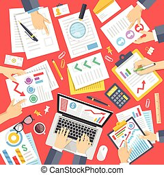 Business people at work in office. Documents, stationery,...