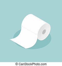Roll of toilet paper isometrics. Special paper for wiping....