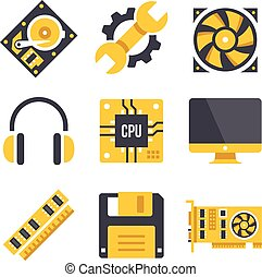 Vector computer hardware icons set Black and yellow colors...
