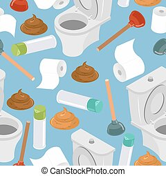 Toilet seamless pattern. Toilet and plunger. Shit and toilet paper. Background washroom accessories. Turd and air freshener ornament.