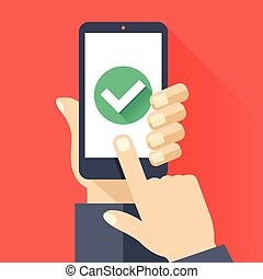 Hands, smartphone, green checkmark