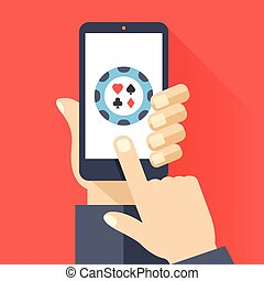 Hand holds smartphone, poker icon - Hand holds smartphone...
