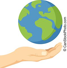 Planet Earth in human hands - Planet in human hands Hand...